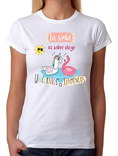 MardeTé Camiseta La Vida es Saber Elegir Entre Unicornios o Flamencos. Camiseta de Chica Divertida para Destacar Entre Las Amigas (L)