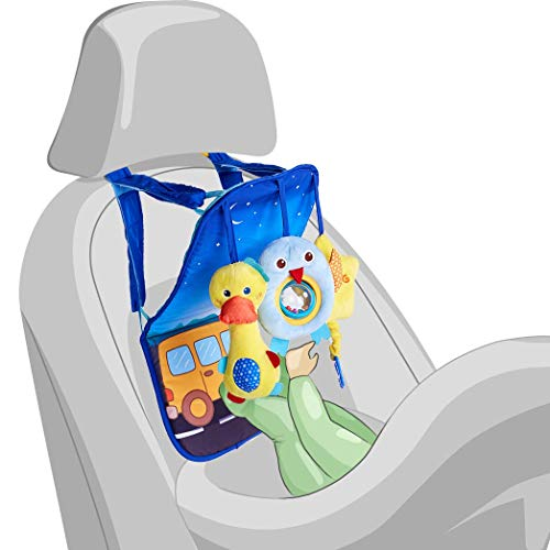 Infant Car Seat Toys - Baby Soft Toys 0 to 12 Months for Car Seat - Rear-facing Car Seat Travel Activity Mat for Baby - Includes Rattle, Squeaky and Rustle Sensory Toys with Teether