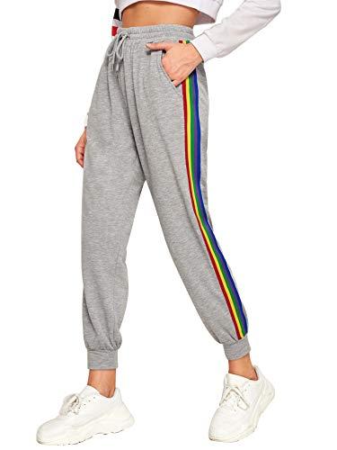 SOLY HUX Damen Sport Sweatshose Sweatpants Elastischer Bund Hose Jogginghose mit Taschen, Kordelzug Regenbogen Streife Graun-89 S
