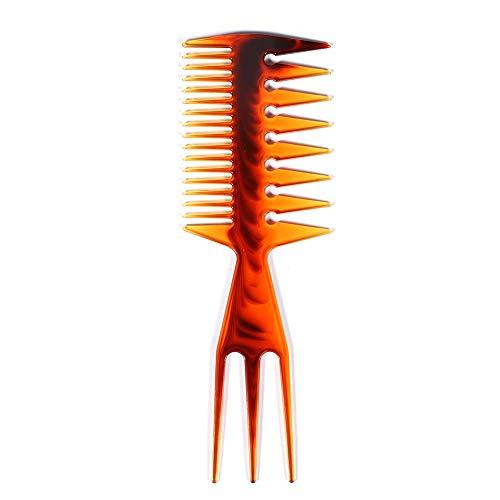 Anself Afro Cepillo Pelo Púas Metal Pike Mango Plástico