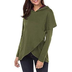 Festiday Long Sleeve Peplum Tops For Women 2018 New Casual Women's Novelty Hoodies Women's Long Sleeve Plaid Hoodies Asymmetric Hem Pullover Sweatshirt Tops