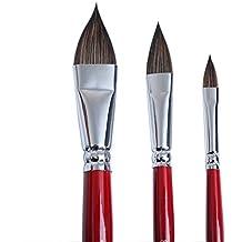Juego de 3 pinceles de pintura para artista, mezcla de pelo con forma de lengua