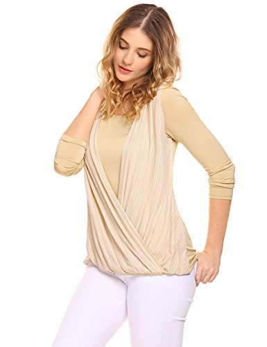 Damen Elegant Langarmshirt Rundhals Patchwork Shirt Chiffion Falten Blusenshirt Lose Mehrfarbig Casual Bluse Oberteile Khaki