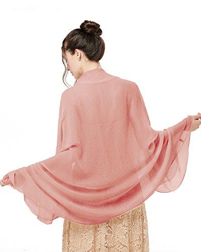Bridesmay donna solida spiaggia sciarpe sciarpa protezione solare scialli semi-opaco shell pink