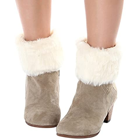 Winter Faux Fur Knitted Soft Leg Warmers Short Boot Cuff