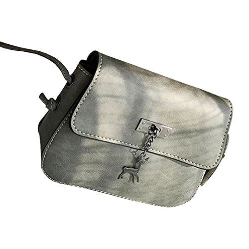 Kostüm Bequem Frauen - Subfamily® Frauen Messenger Bags Vintage kleine Leder Handtasche Casual Bag Damentasche Handtasche Einkauftasche klassisches Aussehen Umhängetasche klassisches Design, bequem, multifunktional (Grau)