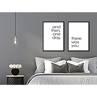 artissimo, Set:Spruchbilder gerahmt, 2 Stück je 51x71cm, PE6225-ER, and Then, One Day, There was You, Bild, Wandbild, Wanddekoration, Poster mit Spruch, Typographie, Typografie