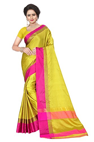 Ecolors Fab Women's Cotton Saree with Blouse Piece (Yellow)