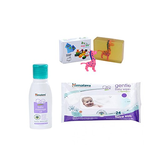 Himalaya Herbals Baby Massage Oil (50ml)+Himalaya Herbals Gentle Baby Wipes (24 Sheets) With Happy Baby Luxurious Kids Soap With Toy (100gm)