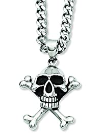 Stainless Steel Antiqued Skull and Crossbones Pendant Necklace - 61 Centimeters