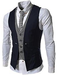 TheLees Herren Stilvoll geschichteten Stil schlanke Weste Taille Mantel