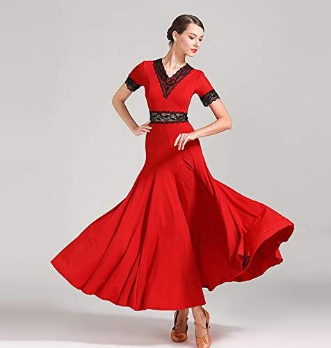 TKFY Frauen Tanzkleid Kurzarm Anbetung Lob Lob Lyrical Dancewear Ballsaal Kostüme für Damen rote Spitze S M L XL 2XL,XXL (Lyrische Lob Tanz Kostüm)