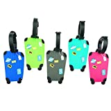 Cpano 5pcs Luggage Tags Travel Tags ID Labels, Name Card Holder for Baggage Bags Suitcases Backpacks (Color 2)