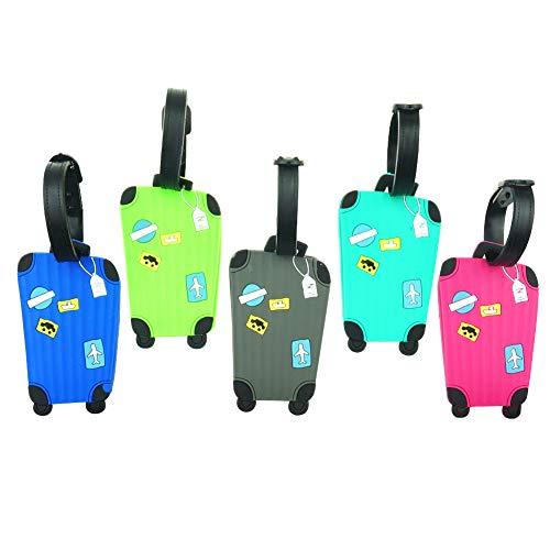Cpano 5pcs Étiquettes de bagages Étiquettes de voyage Étiquettes d'identification, titulaire de carte de noms pour sacs à bagages Valises Sacs à dos (Couleur 1)