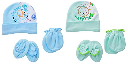 """Baby Bucket """"ELEPHANT & HAPPY ME"""" Premium Quality Light Weight Regular Fit Hosiery Material Stretchable Baby Cap, Mitten & Booties set (White & Green)"""