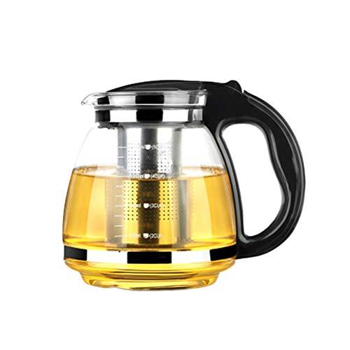 OUNONA Glas-Teekanne Edelstahl Filtergriff hitzebeständig 2000 ml (schwarz) - Hitzebeständiges Glas Teekanne