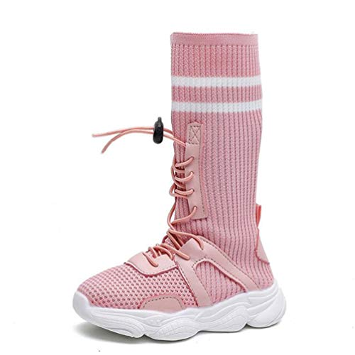 Kinder Socken Schuhe High Top Sneakers Stretch Mädchen Stricken Schuhe Kinder Lange Stiefel Prinzessin Girls Snow Boots -