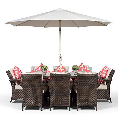 Giardino Arizona großes Rattan-Esszimmer-Set, rechteckig, 8 Sitzer, braunes Rattan-Tisch und Stühle, Set mit Eiskübel, Getränkekühler, Polyrattan, Gartenmöbel-Set mit Sonnenschirm und Abdeckung (Tisch 8 Esszimmer Für)