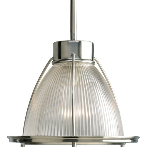 Progress Lighting P5163-09 1-Light Stem Hung Mini-Pendant with Clear Prismatic Glass, Brushed Nickel by Progress Lighting - Clear Prismatic Glass