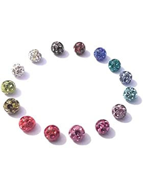 Hochwertige Kristallsteinkugel mit Epoxyüberzug 2ER SET Piercing Schraub Kugel 1,2 Gewinde Durchmesser 4mm - viele...