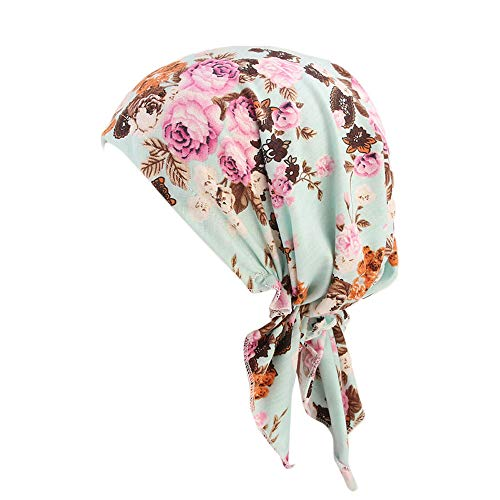 Cenday Frauen Retro Ethnischen Stil Exquisite Mode Mode Wilden Print Indischen Hut Schnür-Multi-Color-Sonnencreme Leichte Tragbare Baotou Mütze Schwanz Muslim Kappe