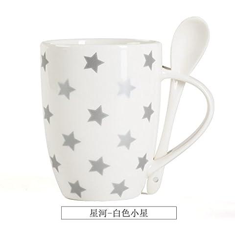 KXZZY Kreative Mode Keramik Kaffeebecher Tasse Milch Becher Becher Becher Liebhaber,Galaxy weiß wenig Sterne ohne Abdeckung