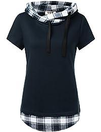 Djt Femme Sweat-Shirt Longue A Capuche 2 en 1 a Carreaux Tunique