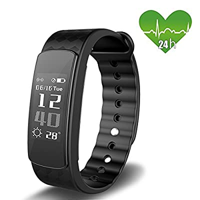 JoyGeek Fitness Tracker, Heart Rate Monitor, Bluetooth Smart Watch with Weather Report Sleep Monitor Pedometer Calorie Counter and Call/SMS Reminder for iPhone 6/6 plus/7/7 plus Samsung S7/note 7/S8 from JoyGeek