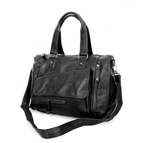 Männer Outdoor Freizeit Umhängetasche Reisetasche Business Mens Messenger Bag Multifunktionale Handtasche,Black-M (Deluxe-leder Notebook 17)