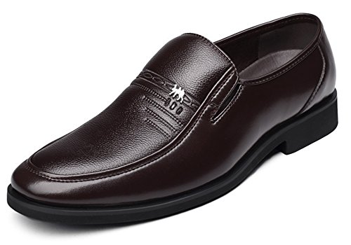 Aisun Homme Officiel Slip On Couleur Unie Souliers Brun