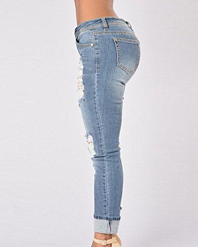 Donna Jeans Vita Alta Leggings Elastico Comodo Pantaloni In Denim Strappati Caviglia Boyfriend Azzurro Chiaro