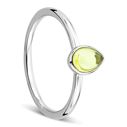 Orovi Ring sterling silber 925 Damen-Peridot Ring Rhodium plated 0.34crt