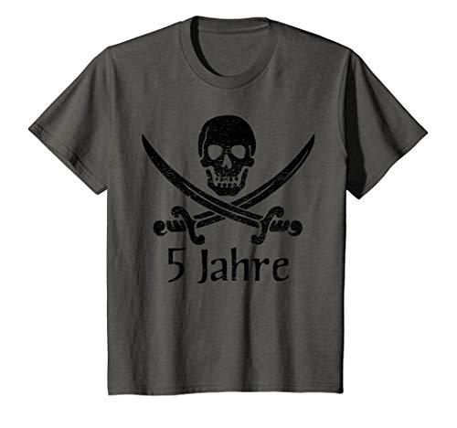 Kinder T-Shirt Geburtstag 5 Jahre Junge Totenkopf Pirat (Macht Ein Kind Das Piraten Kostüm)