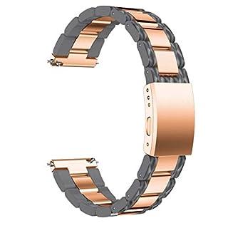 AmaSells Samsung Galaxy Watch (42mm) Uhrenarmband,Mode Sport Uhr Intelligente Uhr Ersatz Weiches Edelstahl Schnellverschluss Armband Uhrenarmband Bügel für Herren Damen (Grau)