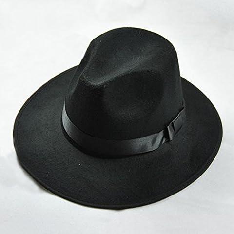 Vintage Cap Männer Frauen mit breiter Krempe Fedora Trilby Panama Hut harte Hüte Gangster, (Männer Frauen Fedora)