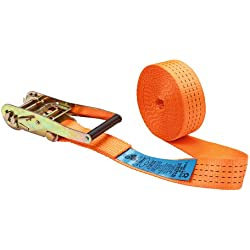 Kerbl 37147 - Correa de amarre con trinquete 1parte 50mm x 6m para carga de 2000 a 4000kg, color naranja