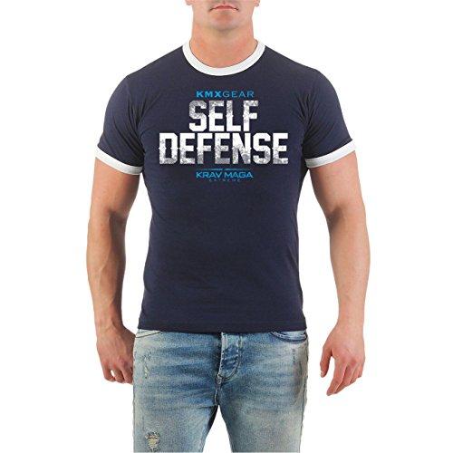 Männer und Herren T-Shirt Krav Maga Self Defense (mit Rückendruck) Größe S - 8XL Dunkelblau/Weiß