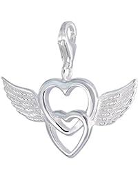 MELINA colgante corazón con alas, doble corazón plata de ley 925 1801727