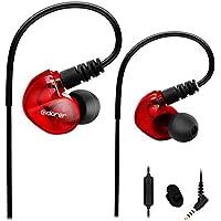 Adorer Auriculares deportivos con cable, RX6 Bajos Estéreo Auriculares con Micrófono, reducción de ruido para iPhone, Android, 3.5mm Jack - Rojo