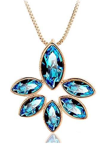 Donne placcato oro giallo fiore petali-Dazzling Blu con ciondolo con cristalli Swarovski