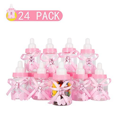Unbekannt 24 PCS Mini Baby Süßigkeiten Box Flasche Box Pralinenschachtel Geschenke Kleine Befüllbare Flasche für Neugeborenen Taufe Geburtstagsparty Favors Dekoration-Rosa by V (Mini-flaschen Bevorzugt)