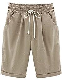 366045f1be232c Ybenlover Damen Bermuda Shorts Sommer Große Größen Kurze Hosen mit Gummizug