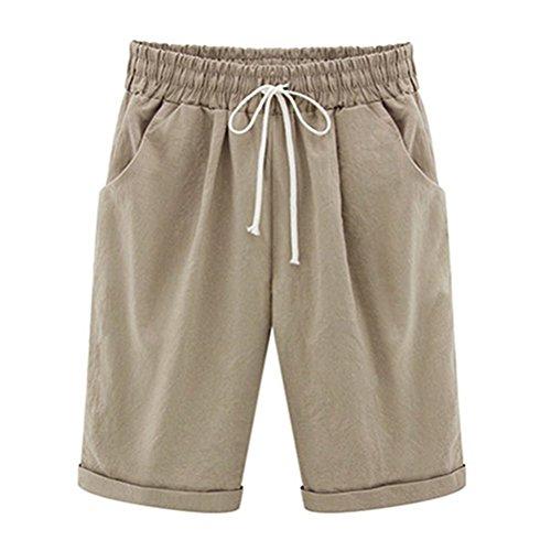 Ybenlover Damen Bermuda Shorts Sommer Große Größen Kurze Hosen mit Gummizug