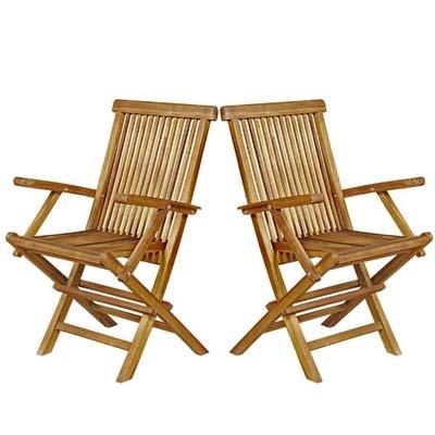 Lot de 2 fauteuils de Jardin pliants en Bois de Teck