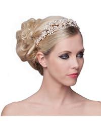 SEXYHER Herrliches Blumen Perlen Design-Tiara - SH-DL-C5184B