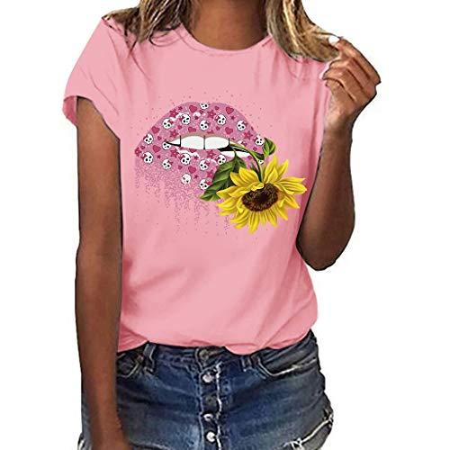 Dnliuw Damen Lässiges Tops mit Sonnenblumen und Lippenprint, Frauen Kurzarm Hemd Sommer Loses Oberteil Mode T-Shirt Bequemes Shirt - Weiße Spitzenbesatz Leibchen