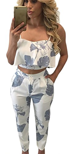 Damen Elegant zweiteiler Ärmellos Bluse Sommer Jumpsuit Overall Spielanzug Tank Tops mit High waist Lange Hose geblümt, Blau, S