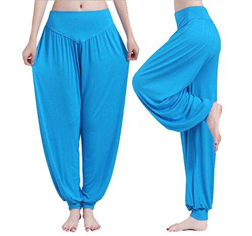 Mme coton doux sarouel Pilates yoga Sport Danse Bleu