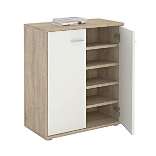 CARO-Möbel Schuhschrank LENNIS Schuhregal Schuhkommode mit 2 Türen und inklusive 4 Einlegeböden, in Sonoma Eiche/weiß