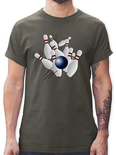 Bowling & Kegeln - Bowling Strike Pins Ball - XXL - Dunkelgrau - L190 - Herren T-Shirt und Männer Tshirt (Kegel ärmel)